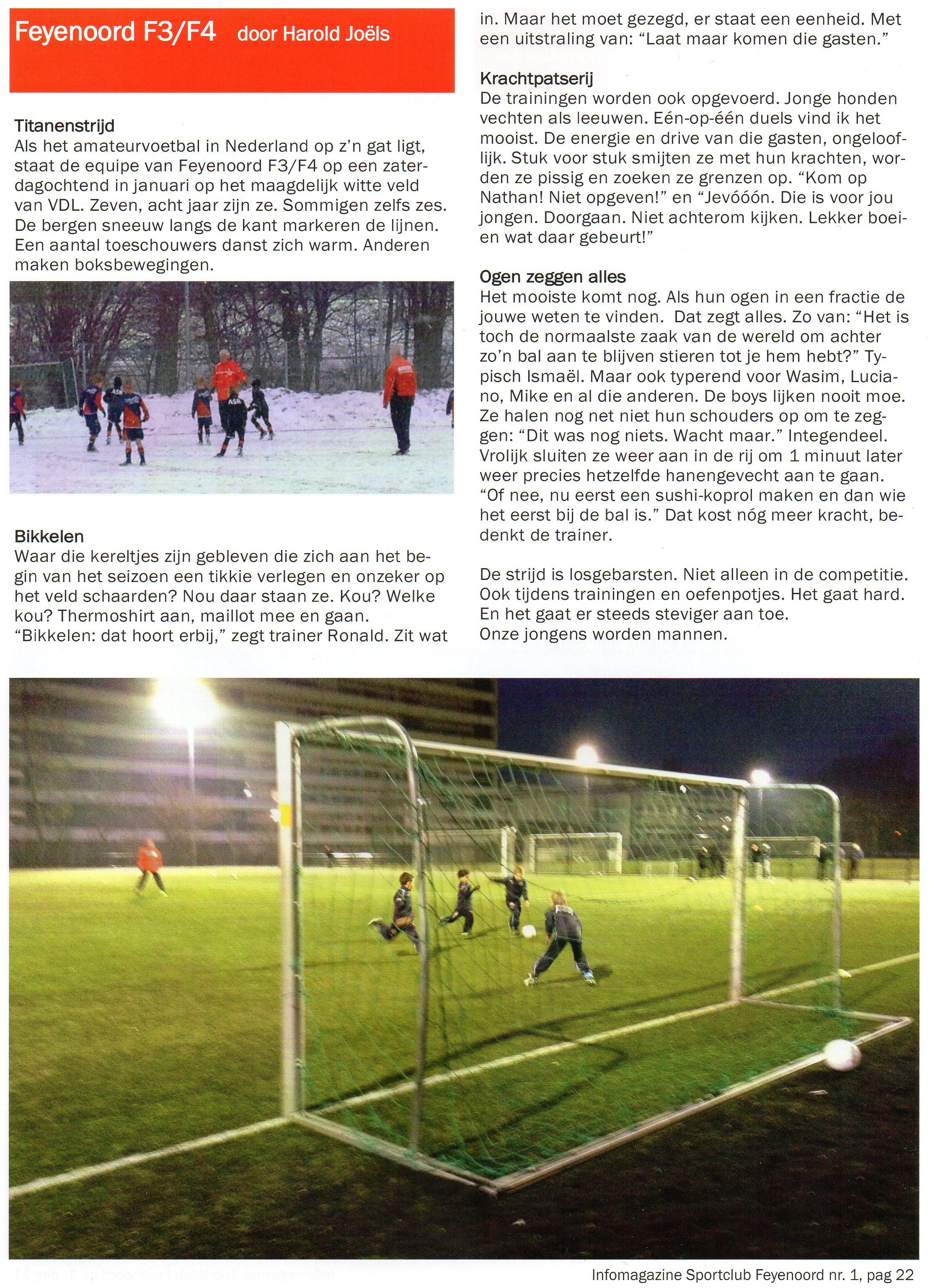 Artikel in informatiemagazine SC Feyenoord